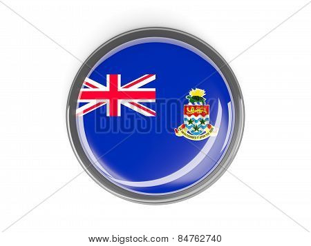 Round Button With Flag Of Cayman Islands