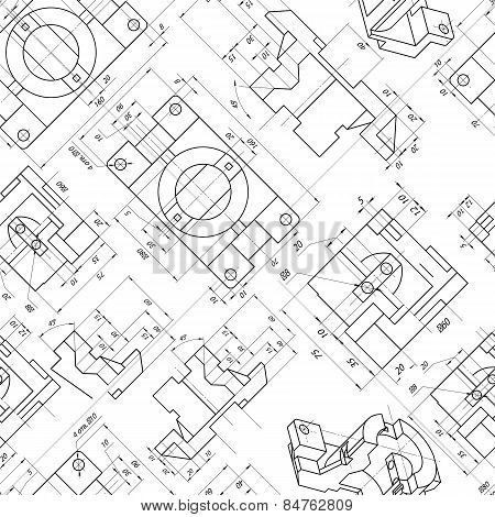 Seamless Background Of Engineering Drawings Of Parts. Contour. Vector