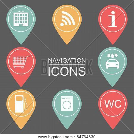 Set Of Navigation Icons. Outlined Icons. Public Institutions. Vector