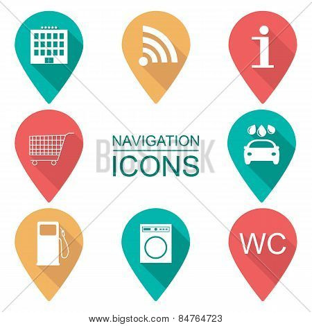 Set Of Navigation Icons. Flat Design. Scope Of Services. Vector