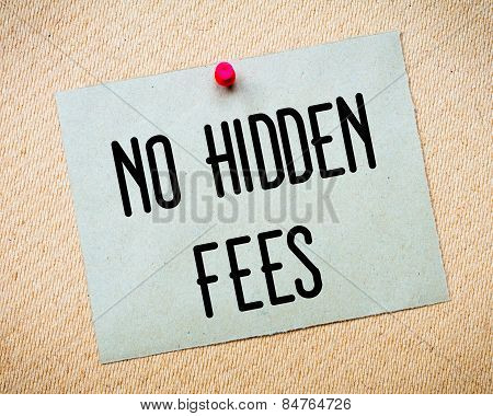 No Hidden Fees Message