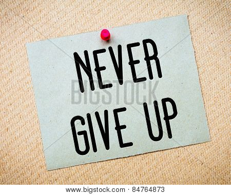 Never Give Up Message