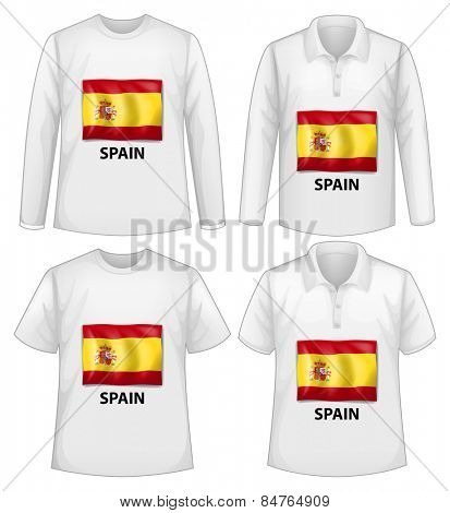 four designs of shirt with Spain flag