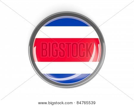 Round Button With Flag Of Costa Rica