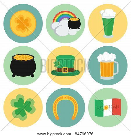 A Set Of Flat Icons On St. Patrick's Day. Vector