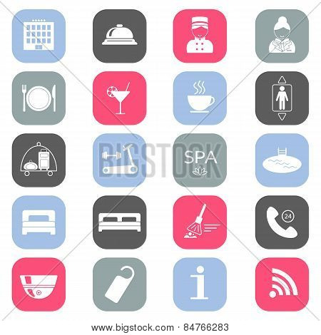 Set Of Colored Hotel Icons. Flat Design. Silhouette. Vector