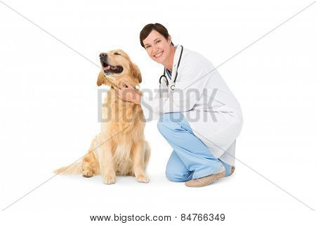 Veterinarian crouching with a dog on white background