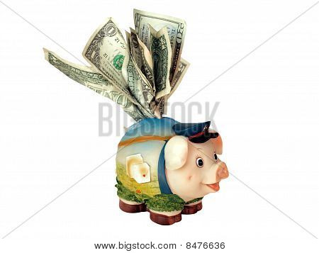 piggy bank on the dollar banknotes