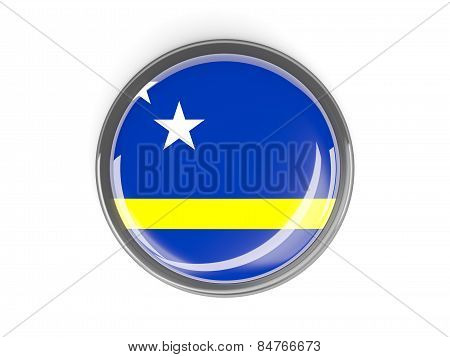 Round Button With Flag Of Curacao