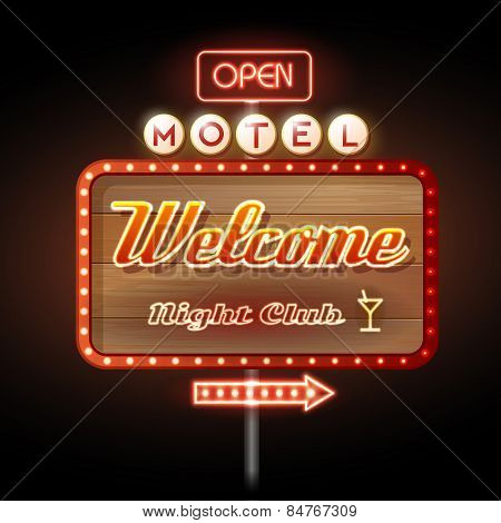 Neon Sign Motel Welcome