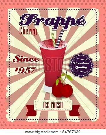 Cherry frappe poster with fruit, drinking strew and glass in retro style