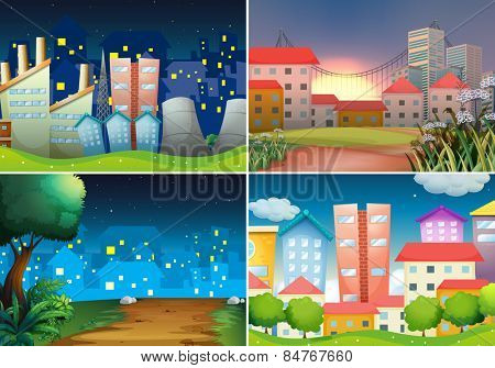 four scenes of city view at night