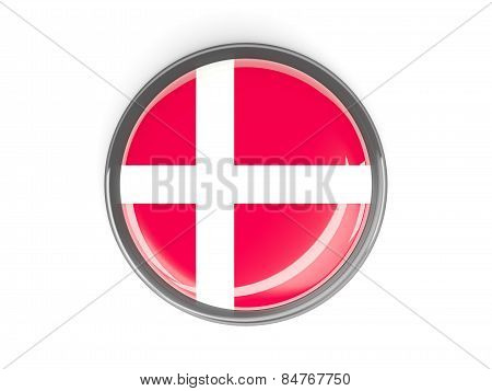Round Button With Flag Of Denmark