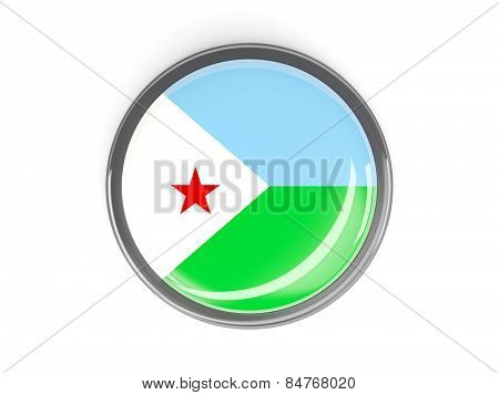 Round Button With Flag Of Djibouti
