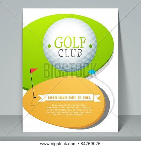 Golf club flyer or template with golf ball on stylish background.