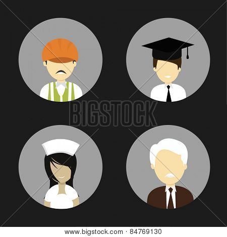 Set of characters with young Engineer, lawyer, nurse and old business man on black background.