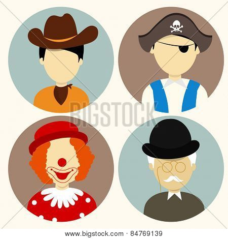 Set of four people character icons with young cowboy, pirate, clown and old man.