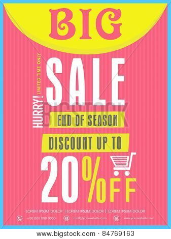 End of season big sale flyer, banner or template with discount offer for your business.