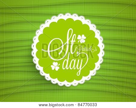 Beautiful sticker, tag or label design with stylish text Happy St. Patrick's Day on green background.