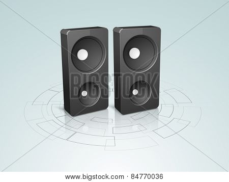 Set of two black electronic speakers on high-tech  background.