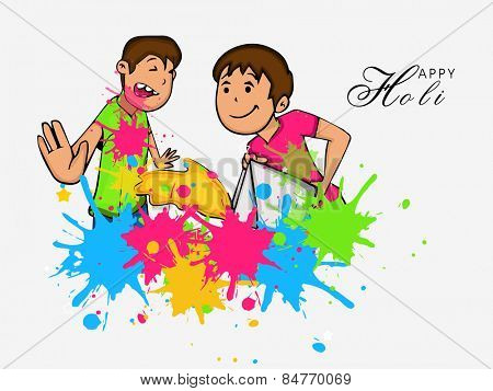 Cute little kids throwing colors to each other on occasion of Indian festival, Happy Holi celebration.