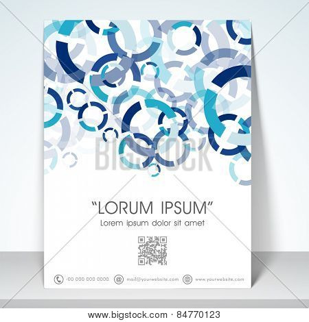 Professional flyer, banner or template with blue aqua abstract design for your business.