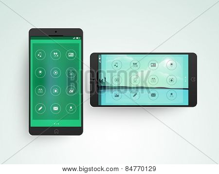 Creative mobile screen presentation with features icons in two ways on gradient background.