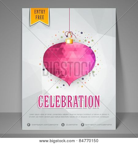 Stylish night party celebration flyer, banner or template.