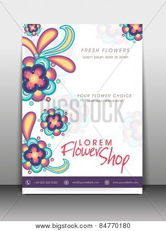 Colorful flowers decorated flyer, banner or template design for flower shop.