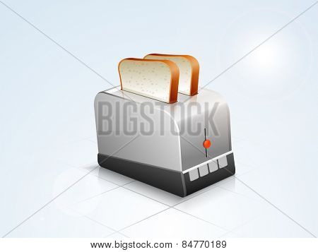 Glossy silver household appliance toaster with bread on stylish background.