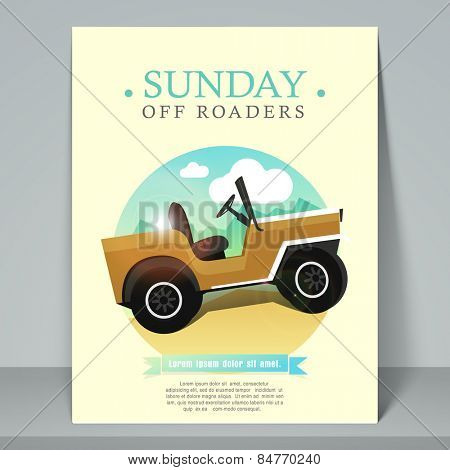 Stylish template, banner or flyer for off road racing purpose with jeep.