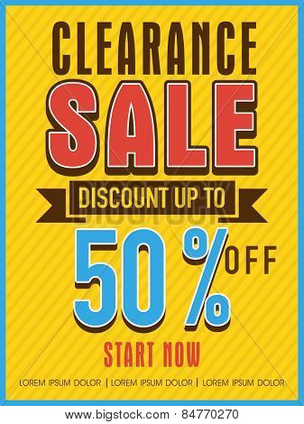 Clearance sale with discount offer flyer, banner or template design for your business.