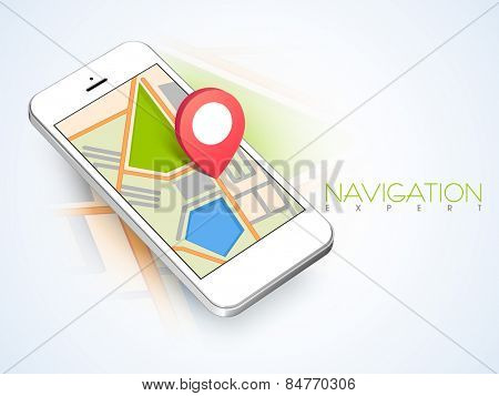 3D map navigation pin pointing to a map on smart phone on abstract background.