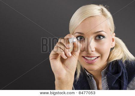Student Girl At Blackboard
