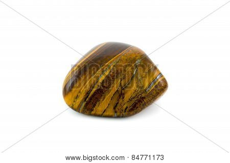 Tiger's Eye Detailed Adorable Gemstone Close Up White Background