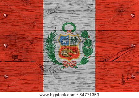 Peru National Flag Painted Old Oak Wood Fastened