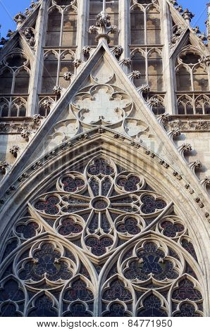 VIENNA, AUSTRIA - OCTOBER 10:Rose window, Votivkirche (The Votive Church). It is a neo-Gothic church in Vienna, Austria on October 10, 2014
