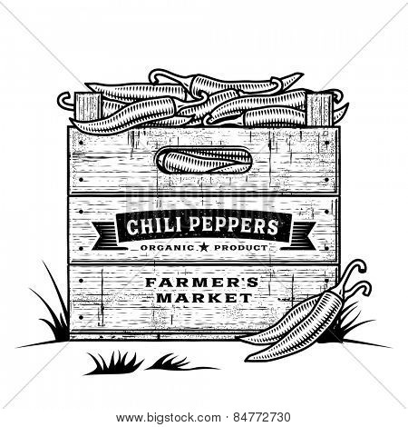 Retro crate of chili peppers black and white