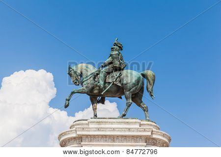 Bronze Equestrian Sculpture Of Victor Emmanuel