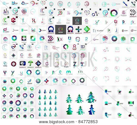 Mega collection of universal logos, business abstract icons