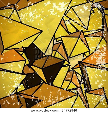 Seamless yellow pattern of triangles volume in vintage style wit