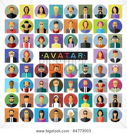 Set avatars people. Modern flat design icons. The file is saved in the version EPS. This image contains transparency.