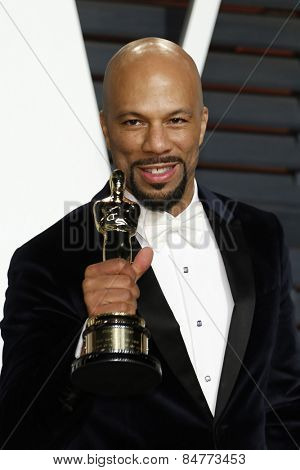 LOS ANGELES - FEB 22:  Common, Lonnie Lynn at the Vanity Fair Oscar Party 2015 at the Wallis Annenberg Center for the Performing Arts on February 22, 2015 in Beverly Hills, CA
