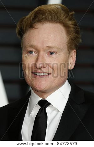 LOS ANGELES - FEB 22:  Conan O'Brien at the Vanity Fair Oscar Party 2015 at the Wallis Annenberg Center for the Performing Arts on February 22, 2015 in Beverly Hills, CA