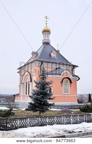 Kozelsk, Russia - February 23, 2015: Temple in honor of the Transfiguration of the Lord. Monastery Of Optina Pustyn in Kozelsk, Kaluga region