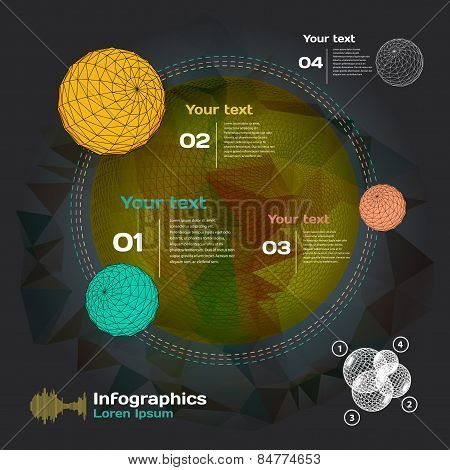 Set for infographics on a dark background of space and planets