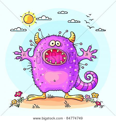 Scaring cartoon monster