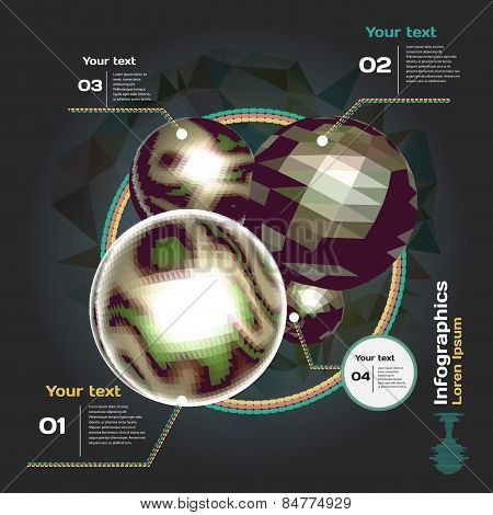 Set for infographics on a dark background with 3d balls