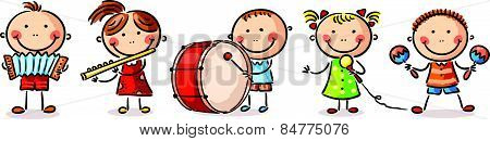Children playing different musical instruments