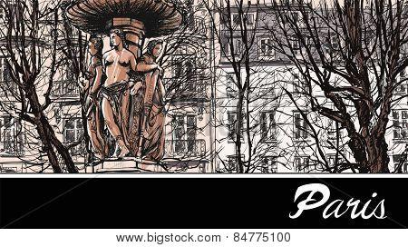 France - Paris square Louvois - vector illustration